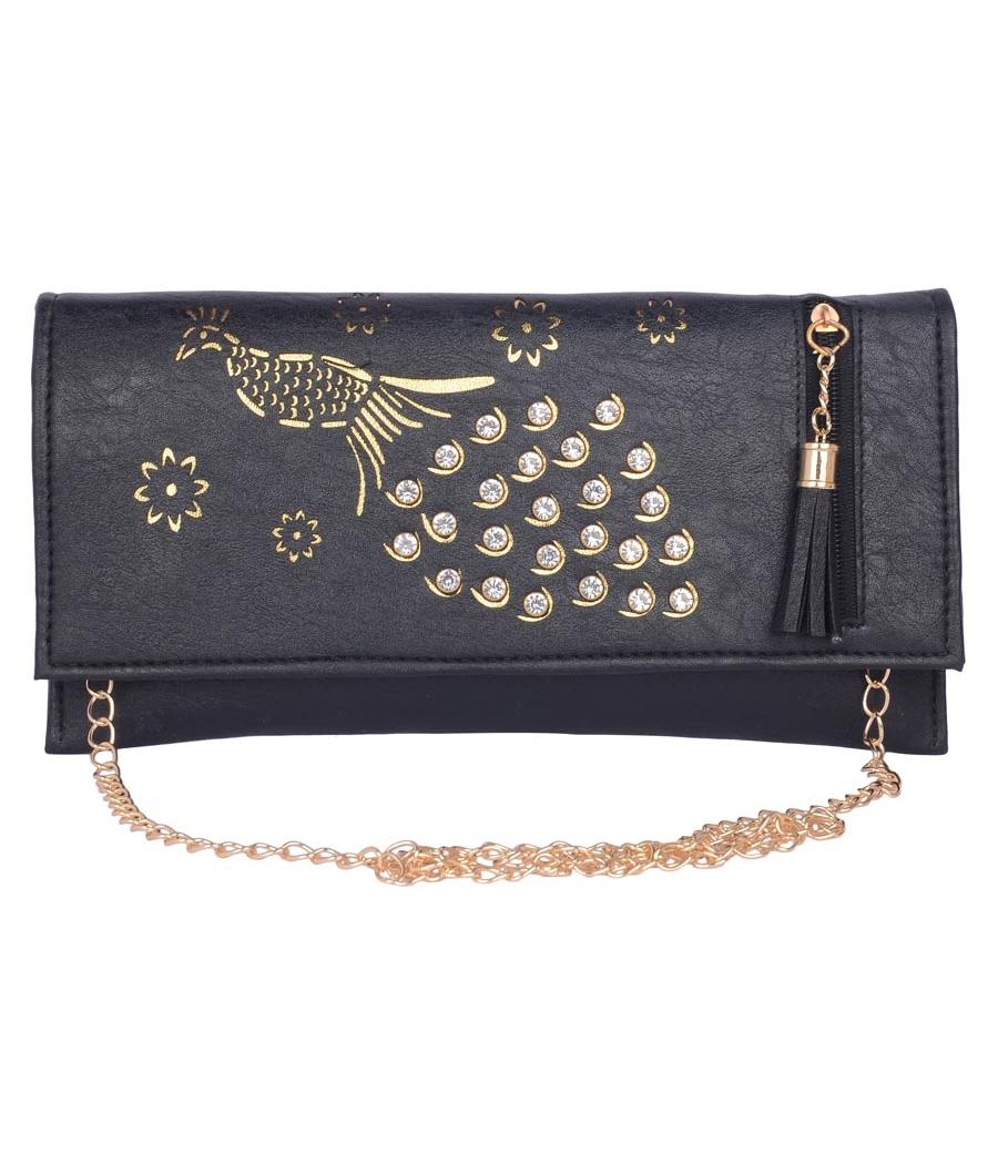 Envie Faux Leather Embellished  Black Magnetic Snap Closure Crossbody Bag