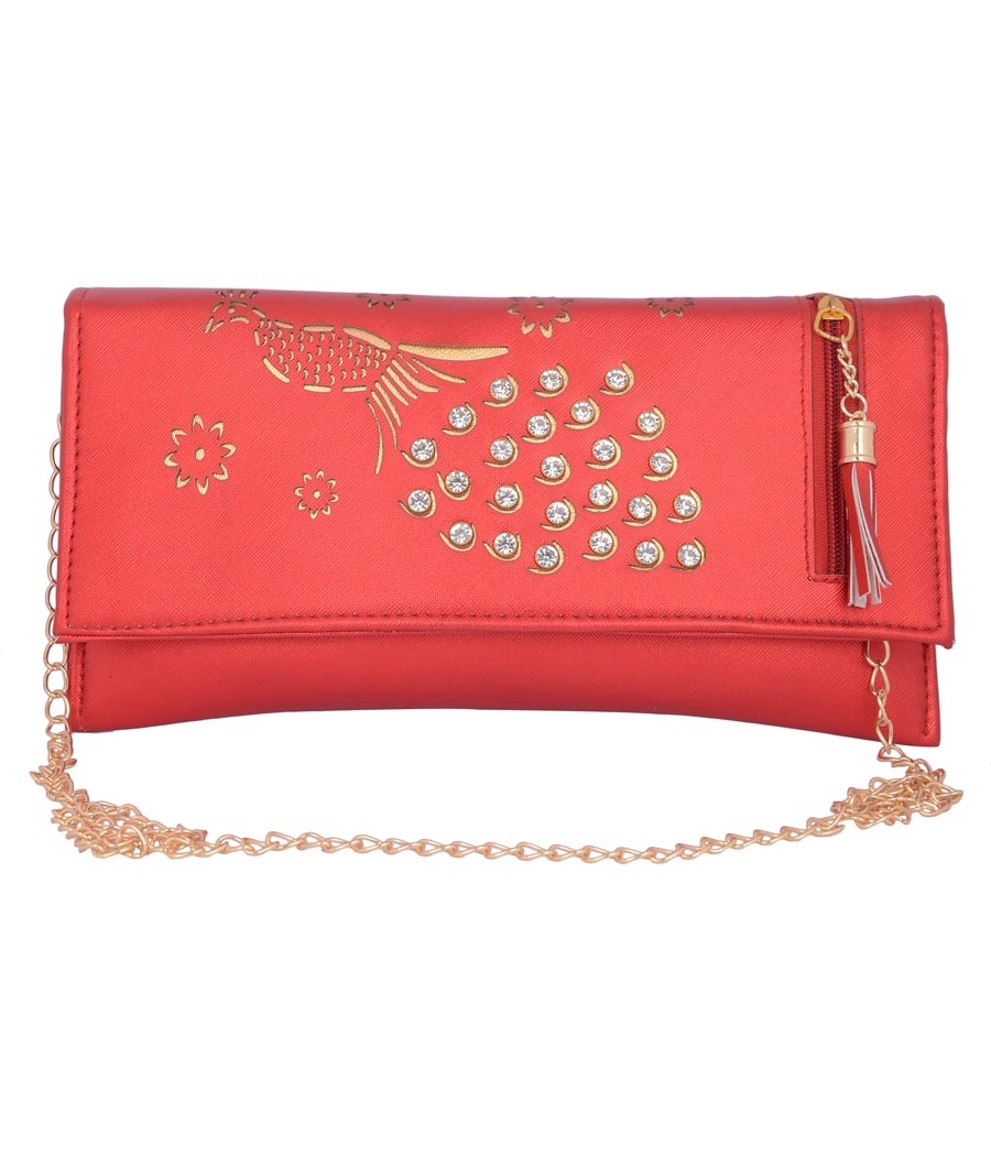 Envie Faux Leather Embellished Red Magnetic Snap Closure Crossbody Bag