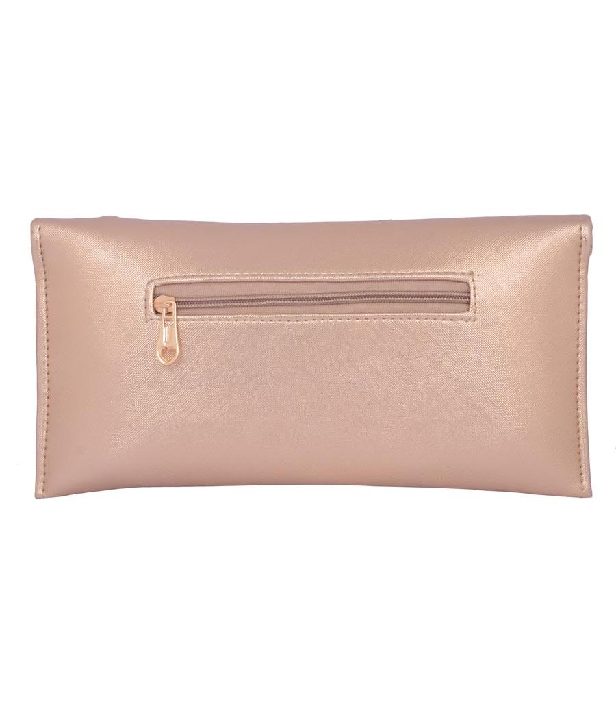 Envie Faux Leather Embellished  Bronze Magnetic Snap Closure Crossbody Bag