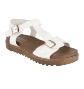 Estatos Faux Leather Open Toe T Strap Buckle Closure Brown Platform Heel White  Sandals for Women