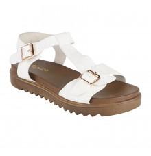 Estatos Faux Leather Open Toe T Strap Buckle Closure Brown Platform Heel White  Sandals for Women