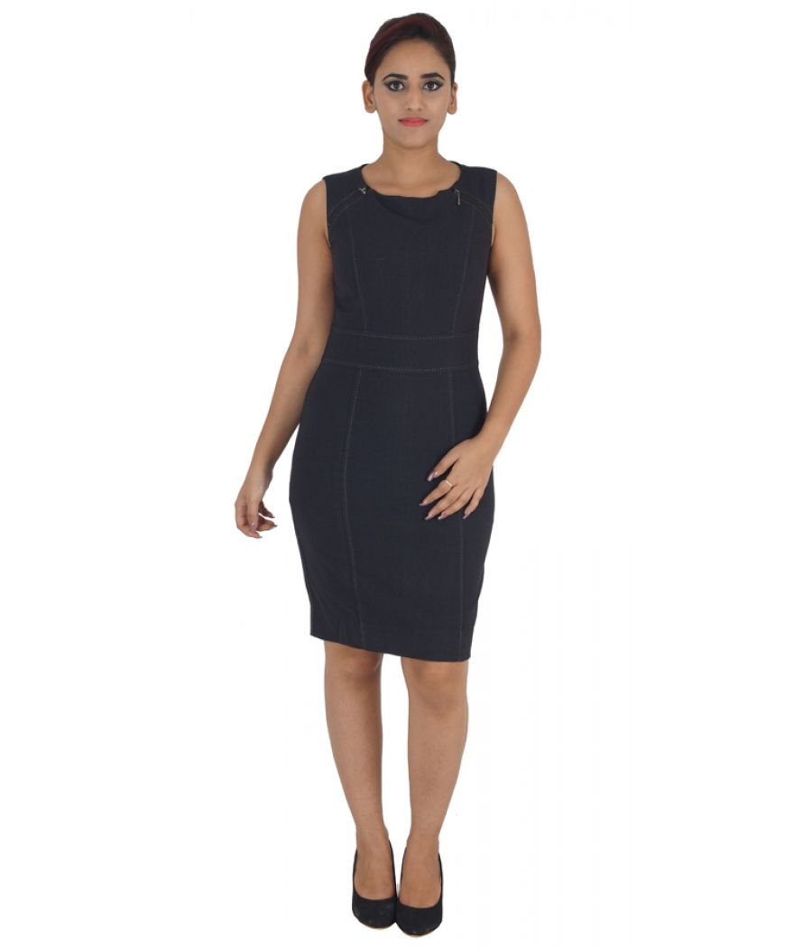 Marks & Spencer Polycotton Plain Solid Black Sleeveless Midi Dress