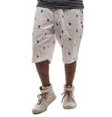 US Polo Cotton Printed White & Black Regular Waist Knee Length Shorts