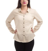 Solly Crepe Polka Dots Beige & White Full Sleeves Button Closure Shirt