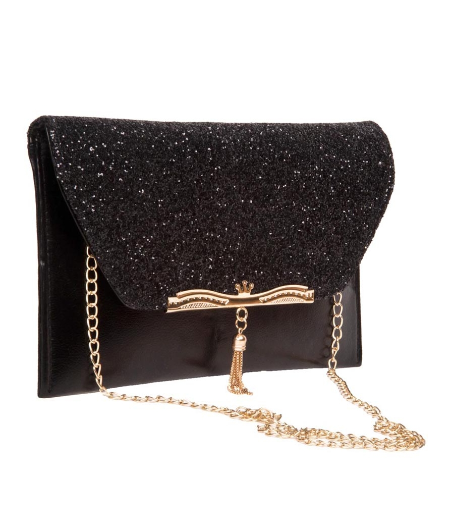 Envie Faux Leather Black Fold Over Magnetic Snap Sequined Sling Bag for Women