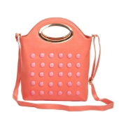 Envie Faux Leather Peach Coloured Zipper Closure Embellished Sling Bag for Women