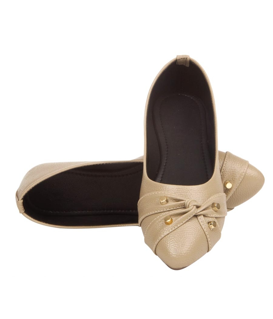 MCS Synthetic Leather Beige Broad Toe Casual Flats for Women