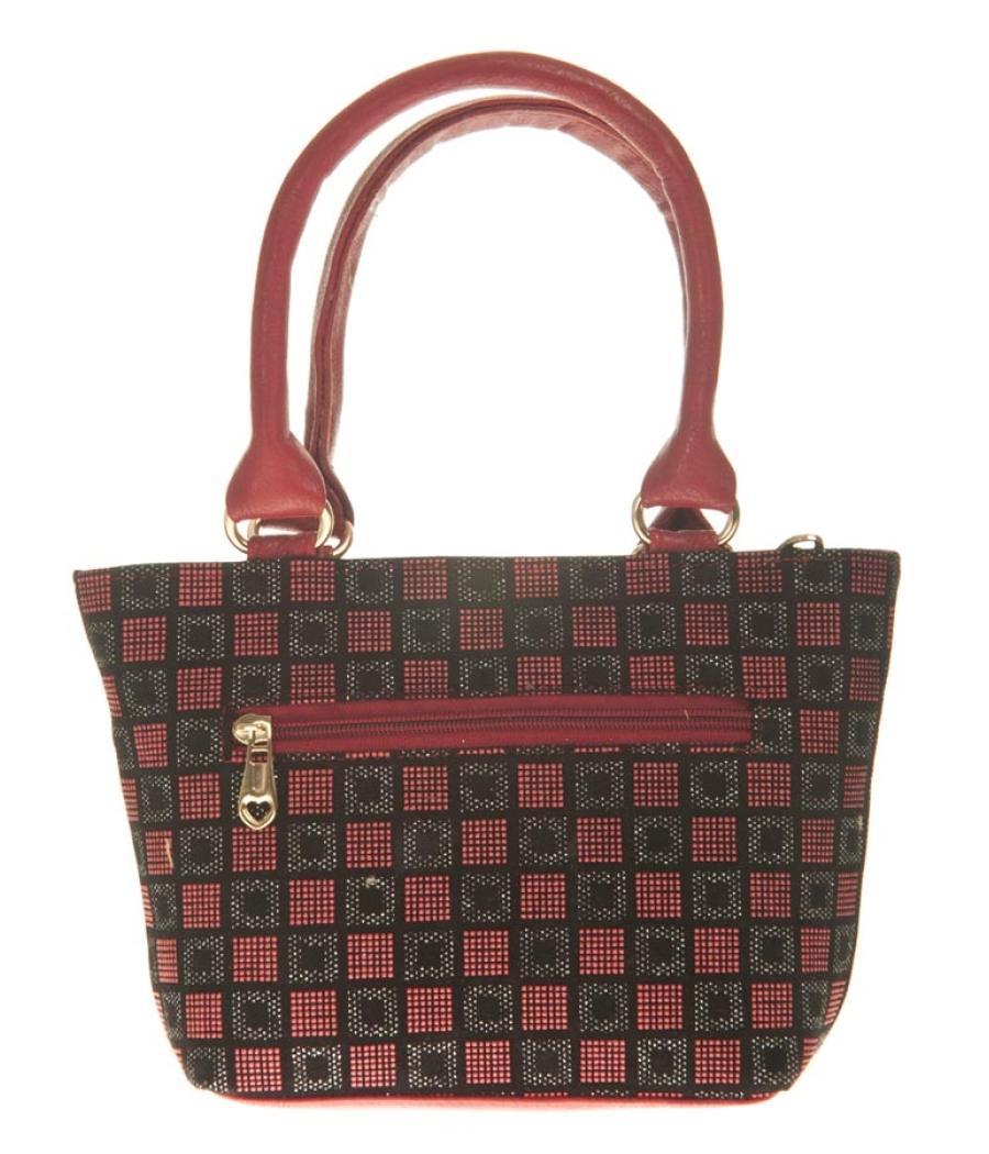 Aliado Faux Leather Magenta & Black Zipper Closure Embellished Tote Bag
