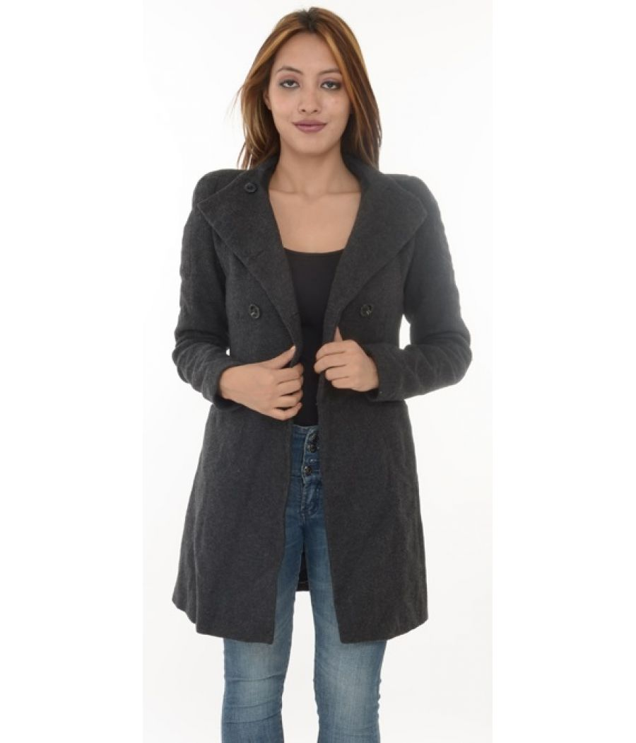 Zara Woollen Long Dark Grey Coat