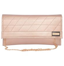 Envie Faux Leather  Peach Magnetic Snap Closure Crossbody Bag