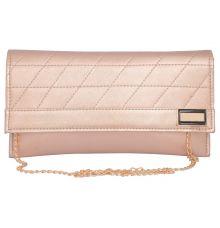 Envie Faux Leather  Peach Magnetic Snap Closure Crossbody Bag