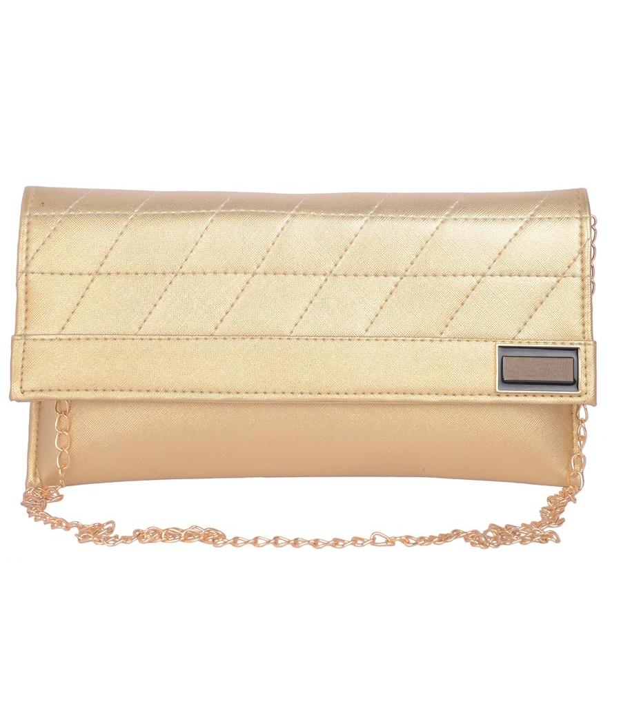 Envie Faux Leather  Golden  Magnetic Snap Closure Crossbody Bag