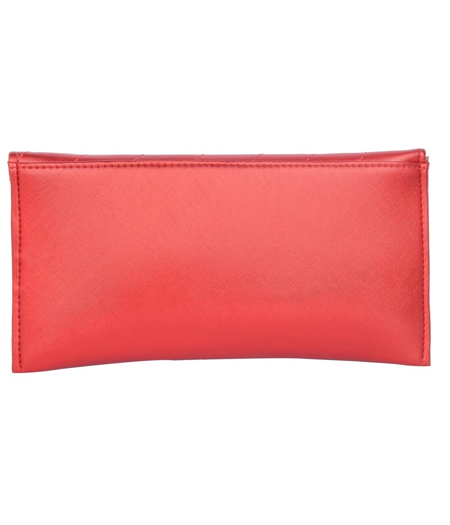 Envie Faux Leather Red Magnetic Snap Closure Crossbody Bag