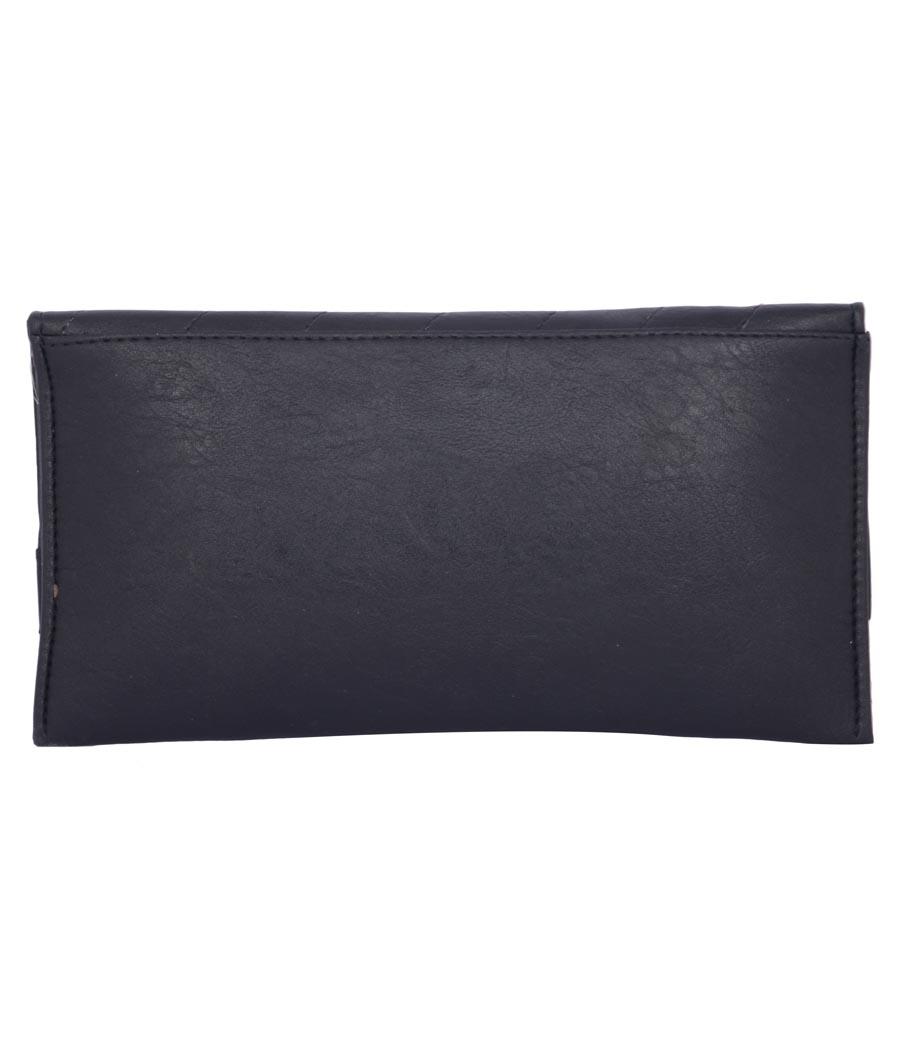 Envie Faux Leather Black Magnetic Snap Closure Crossbody Bag