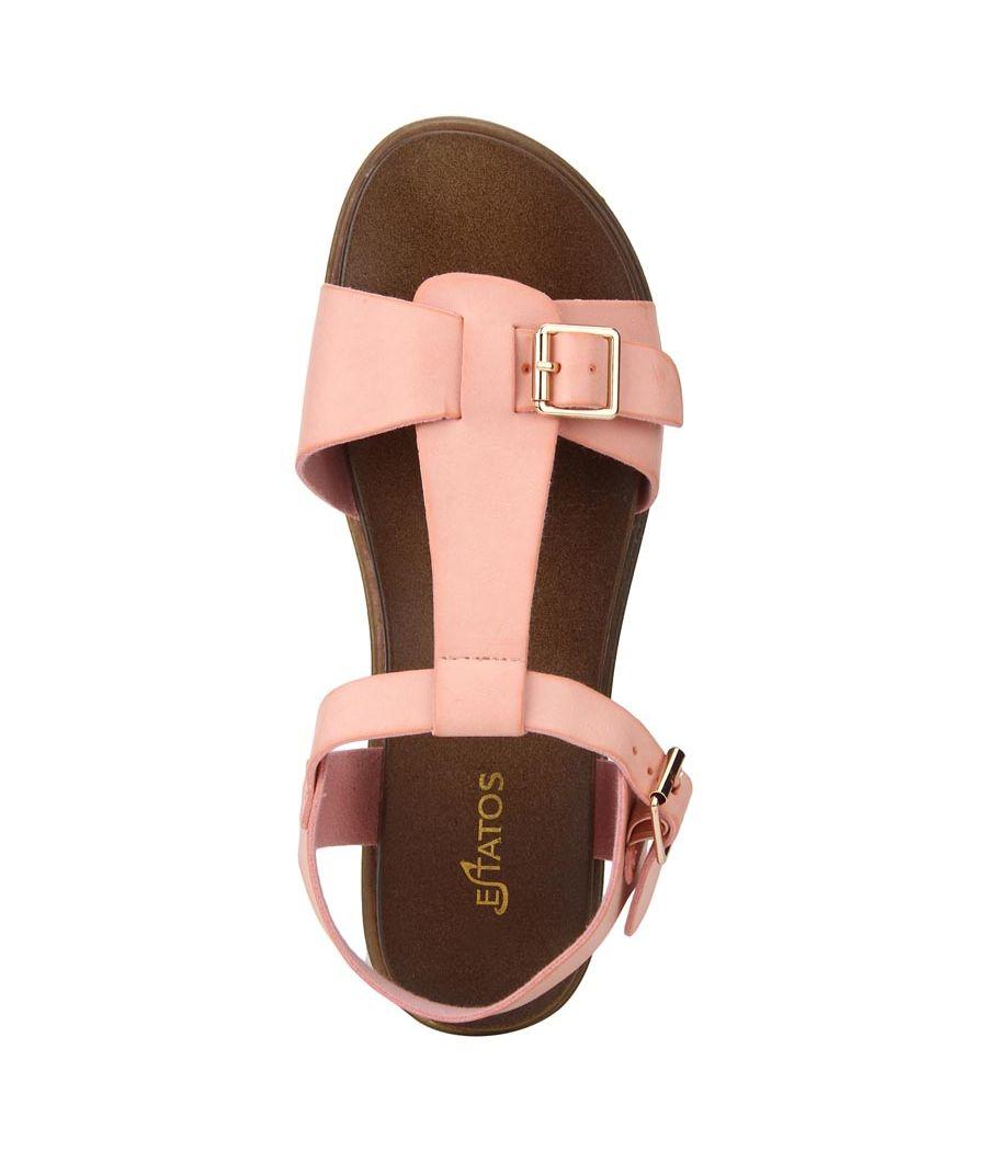 Estatos Faux Leather Open Toe T Strap Buckle Closure Brown Platform Heel  Baby Pink Sandals for Women