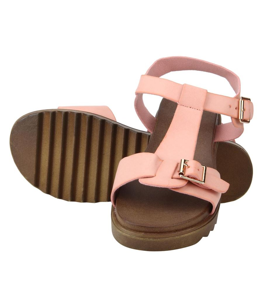 Estatos Faux Leather Open Toe T Strap Buckle Closure Brown Platform Heel  Baby Pink Sandals for Women