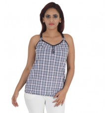 Lee Cooper Cotton Checkered Print Blue & Multi Halter Neck Sleeveless Spaghetti Top