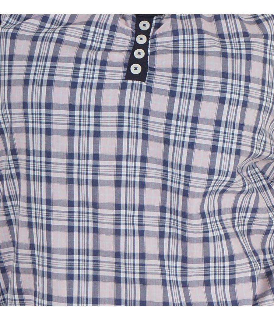 Lee Cooper Cotton Checkered Print Blue & Multi Halter Neck Sleeveless Spaghetti Top