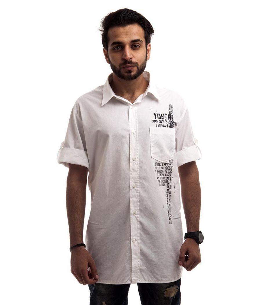 Style Benetton Cotton Plain Printed White Regular Fit Casual Shirt