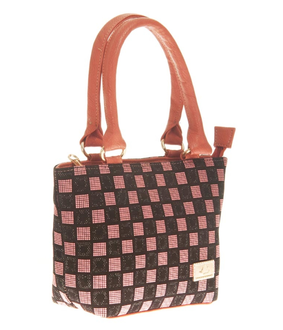 Aliado Faux Leather Pink & Black Zipper Closure Embellished Tote Bag