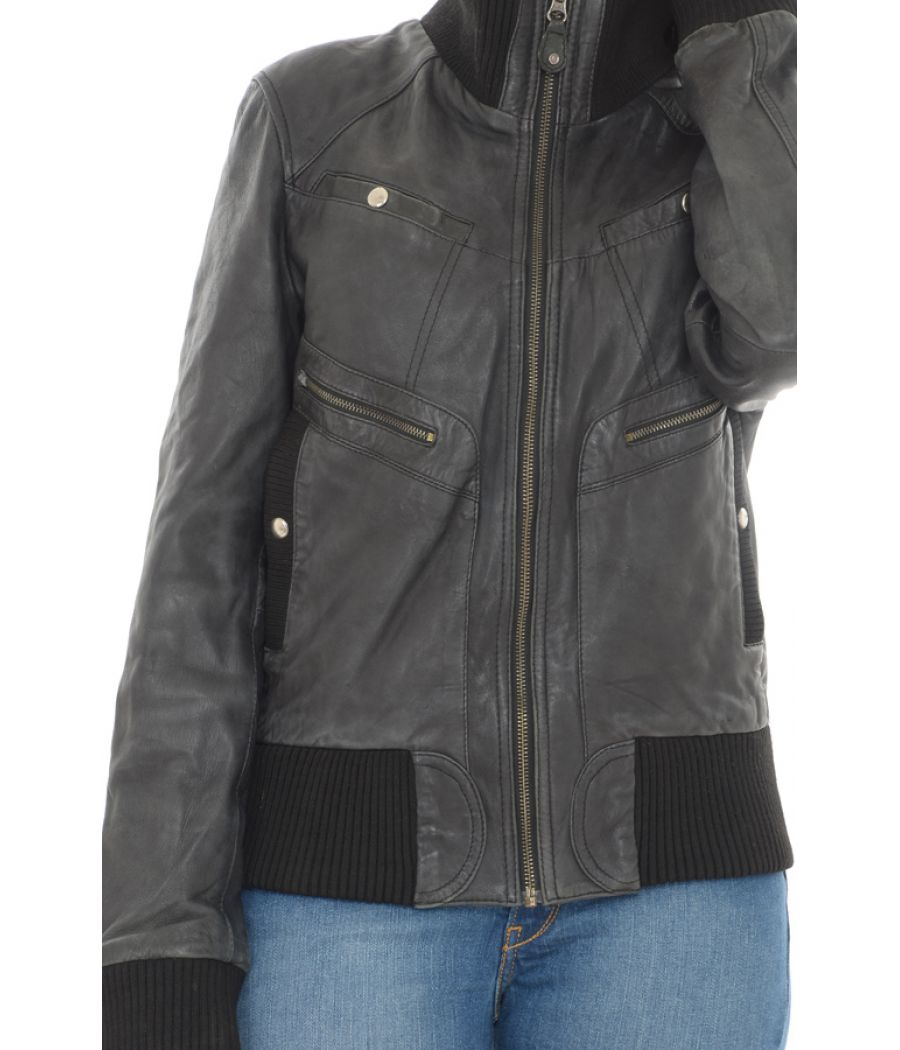 Mango Faux Leather Short Black Jacket
