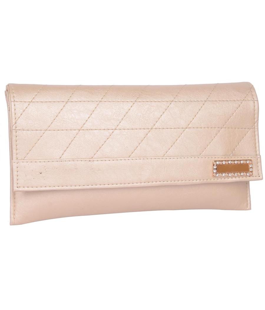 Envie Faux Leather Beige   Magnetic Snap Closure Sling Bag