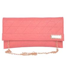 Envie Faux Leather Pink   Magnetic Snap Closure Sling Bag