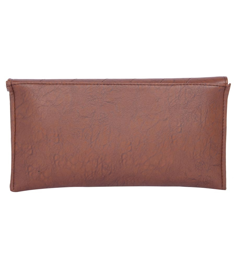 Envie Faux Leather  Coffee Brown  Magnetic Snap Closure Sling Bag