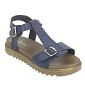 Estatos Faux Leather Open Toe T Strap Buckle Closure Brown Platform Heel Navy Blue Sandals for Women
