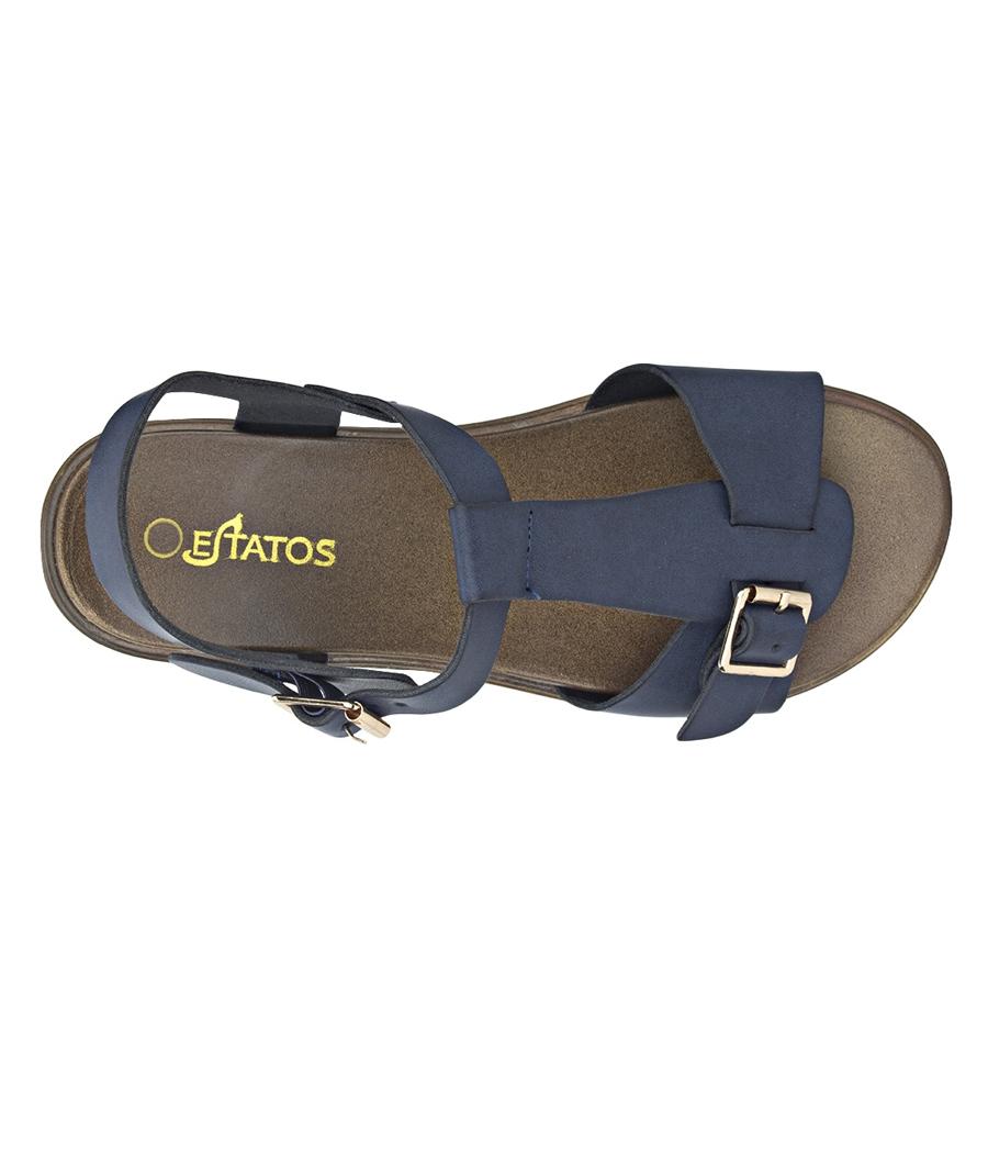 6bf33e4b79a68b ... Estatos Faux Leather Open Toe T Strap Buckle Closure Brown Platform  Heel Navy Blue Sandals for ...