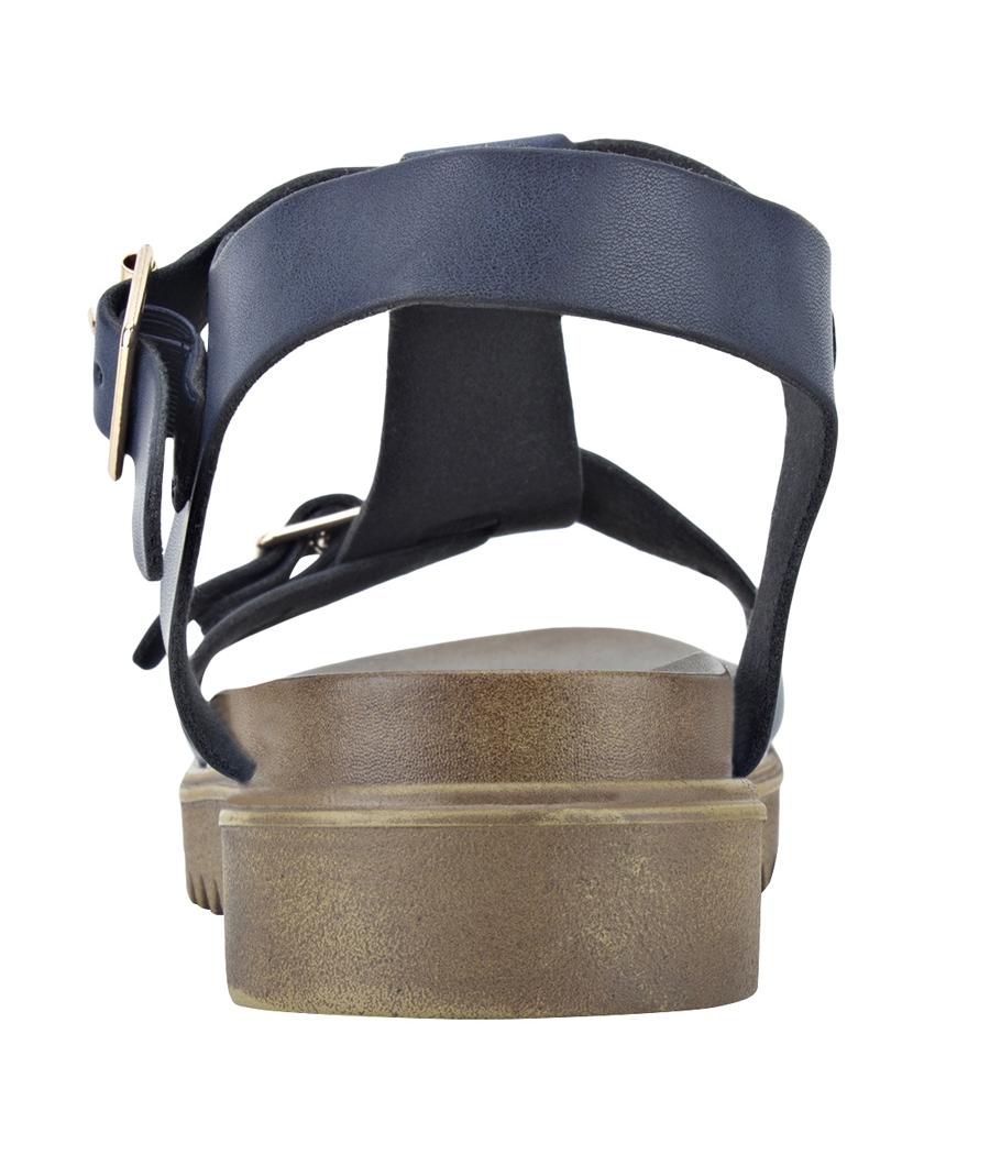 Estatos Faux Leather Open Toe T Strap Buckle Closure Brown Platform Heel Navy Blue Sandals for Women