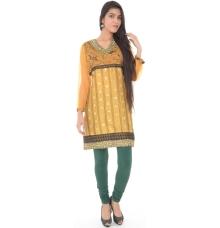 Chanderi Silk Yellow Kurti