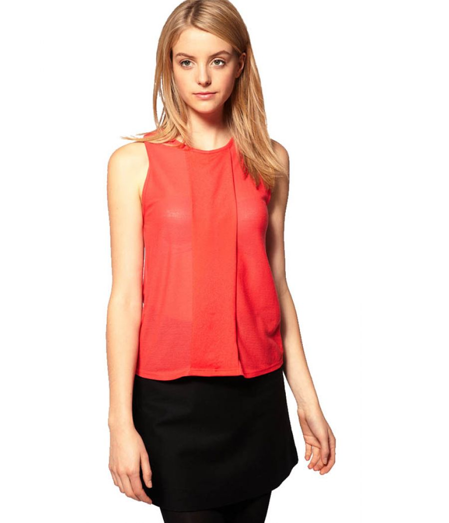 Orange Sleeveless Top With Front Pleat