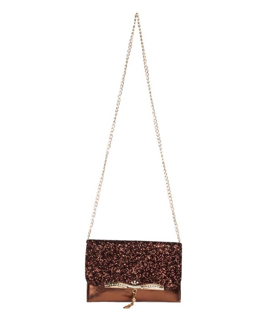 Envie Faux Leather Bronze Fold Over Magnetic Snap Sequined Sling Bag
