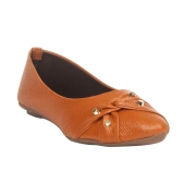 MCS Synthetic Leather Mustard Broad Toe Casual Flats for Women
