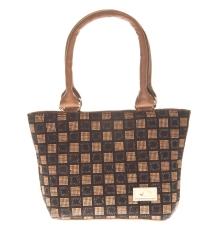 Aliado Faux Leather Printed Beige & Black Zipper Closure Tote Bag for Women
