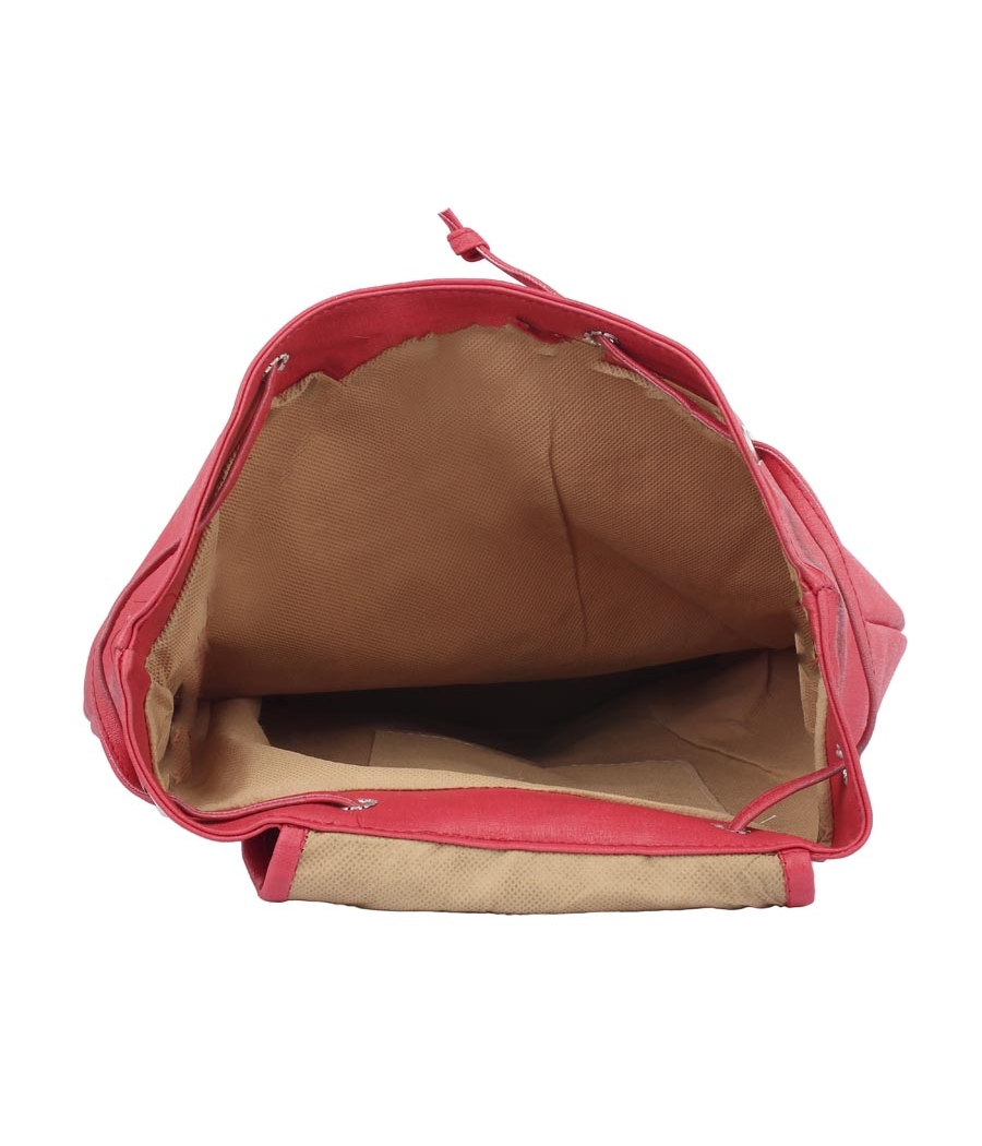 Aliado Faux Leather Red Coloured Backback