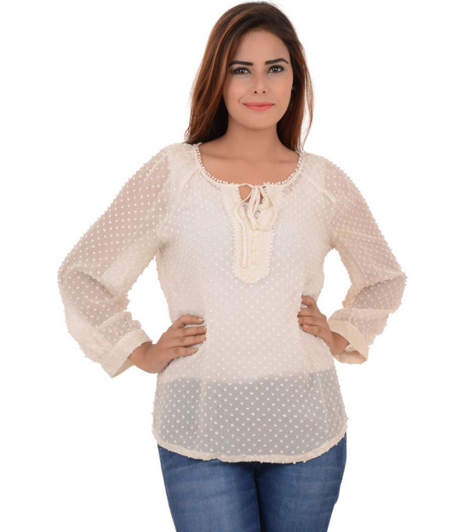Mango Georgette Balloon Sleeves Cream Blouse