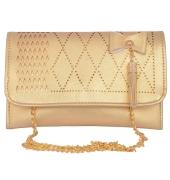 Envie Faux Leather Golden   Magnetic Snap Closure Sling Bag