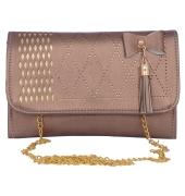 Envie Faux Leather Bronze  Magnetic Snap Closure         Sling Bag