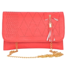 Envie Faux Leather Red   Magnetic Snap           Closure Sling Bag