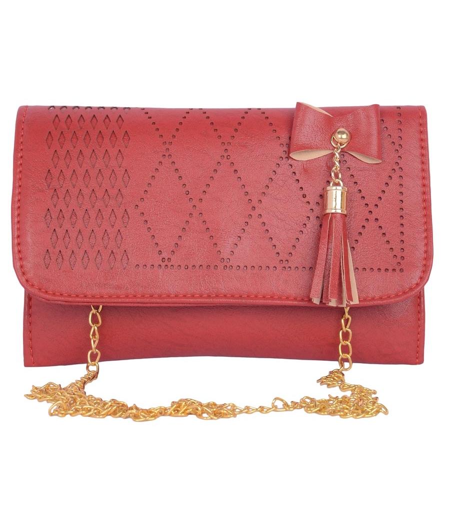 Envie Faux Leather Maroon  Magnetic Snap Closure Sling Bag