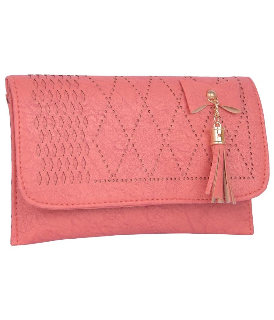 Envie Faux Leather Peach Magnetic Snap Closure Sling Bag
