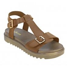 Estatos Faux Leather Open Toe T Strap Buckle Closure Brown Platform Heel Dark Brown Sandals for Women
