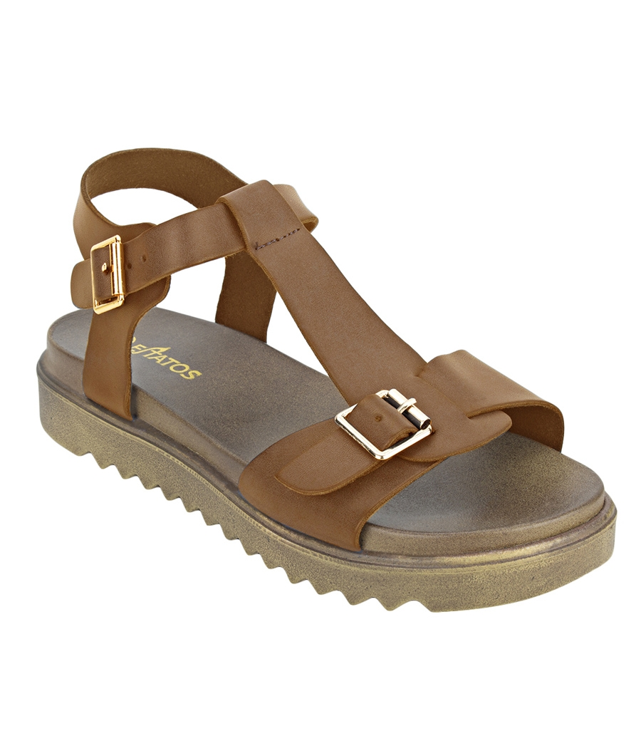 Estatos Faux Leather Open Toe T Strap Buckle Closure Brown Platform Heel Dark Brown Sandals for Women