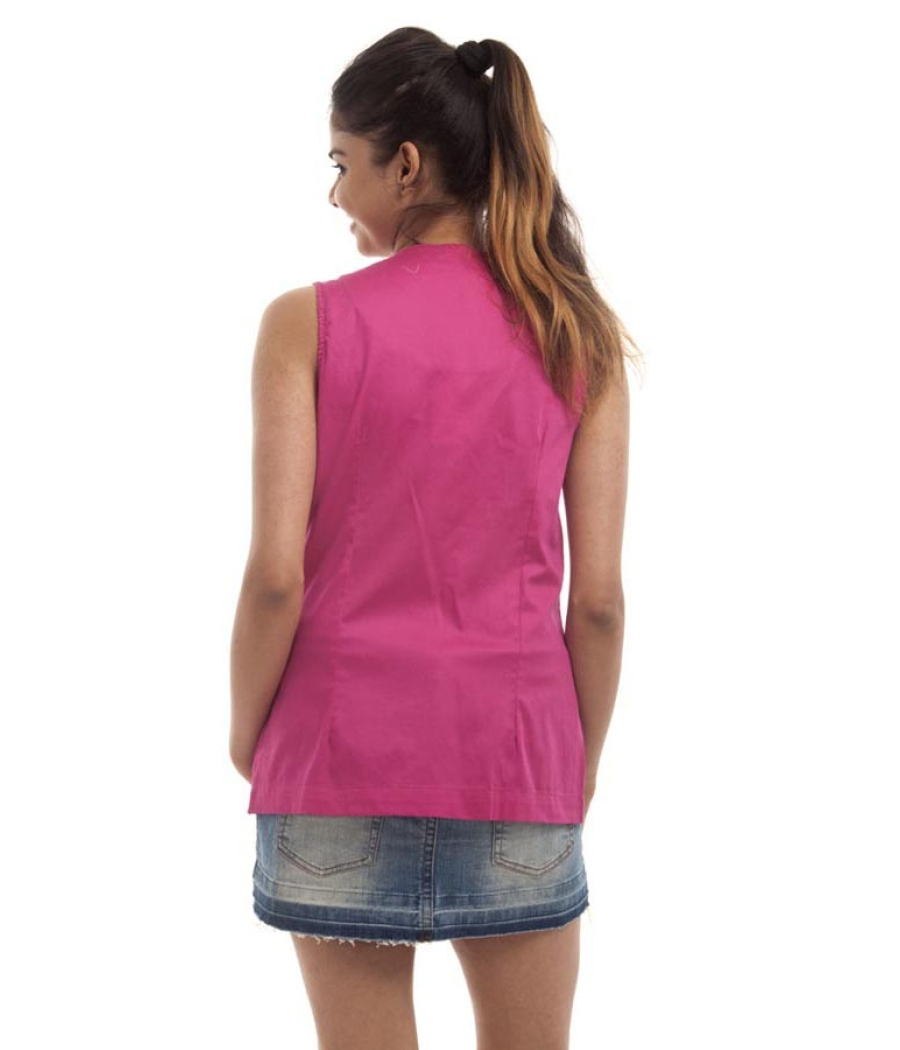 FZI Polycotton Solid Hot Pink Sleeveless Tie Front Casual Top