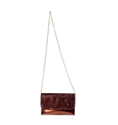 Envie Faux Leather Bronze  Fold Over Magnetic Snap Sequined Sling Bag for Women