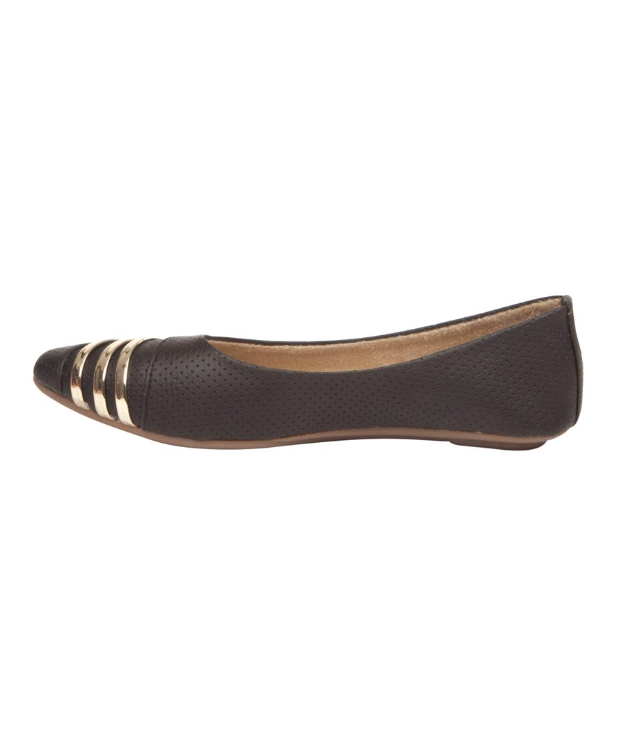 MCS Synthetic Leather Black Pointed Toe Casual Flats for Women