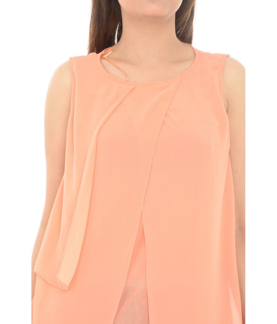 Zara Basic Georgette Asymmetric Orange Top