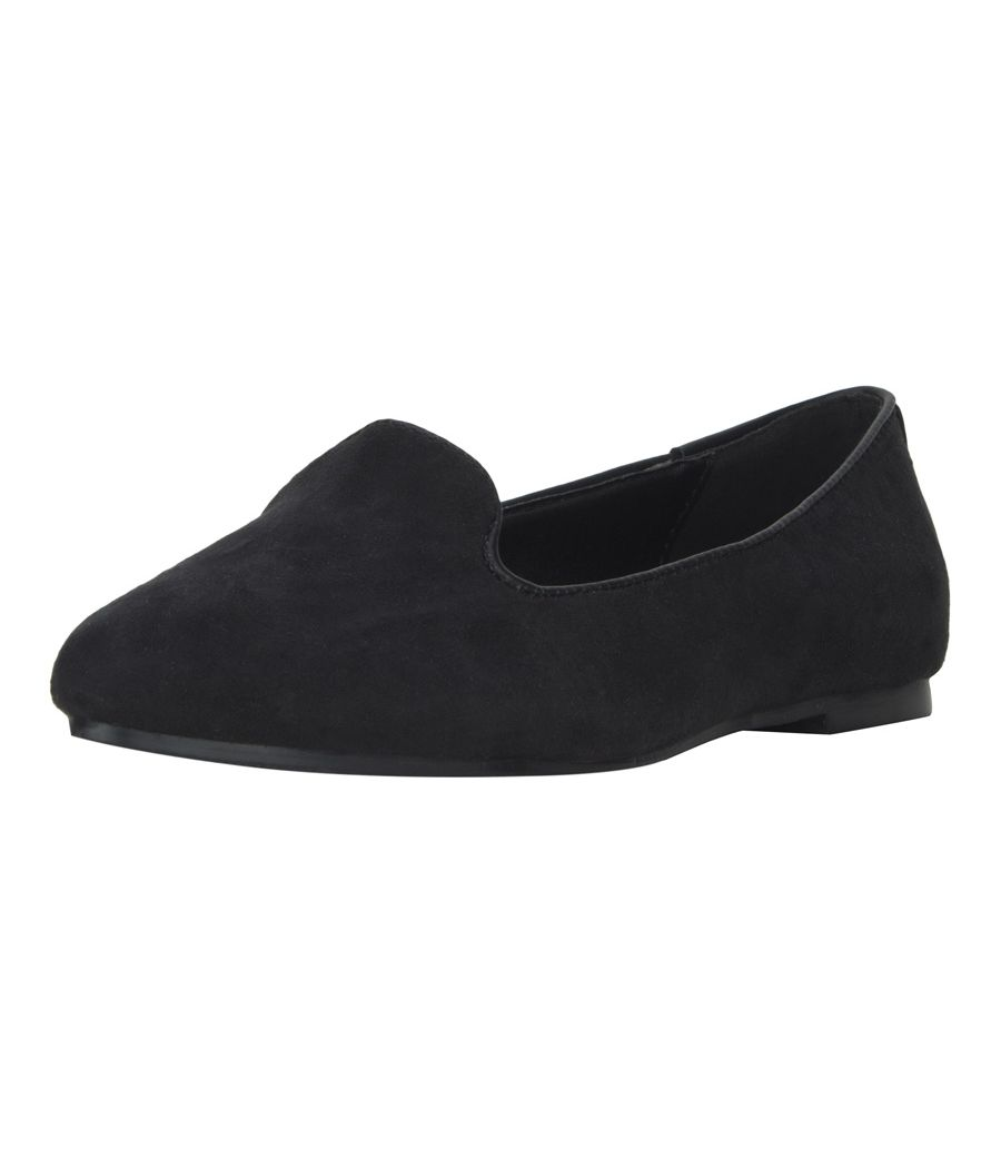 Estatos Suede Leather Pointed Toe Comfortable Black  Ballet Flats for Women